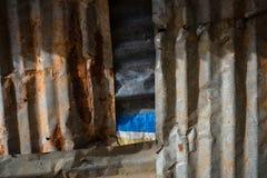 Vecchia parete arrugginita del metallo Immagini Stock Libere da Diritti