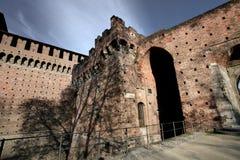 Vecchia parete del castello italiano immagine stock