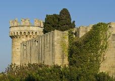 Vecchia parete della città della Rodi Immagine Stock
