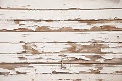 Vecchia parete di legno con vernice bianca incrinata Fotografia Stock Libera da Diritti