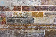 Vecchia parete di pietra Effetto d'annata Tono rosso immagini stock libere da diritti