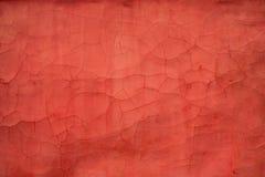 Vecchia parete di struttura rossa con le crepe Fotografia Stock