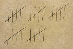 Vecchia parete e numeri della prigione Immagine Stock Libera da Diritti