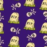Vecchia parola di Halloween della lapide Immagini Stock