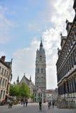 Vecchia parte della città medievale famosa Gand Fotografia Stock