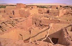 Vecchia parte della città Mut del deserto nell'oasi di Dakhla, Egitto Fotografia Stock Libera da Diritti