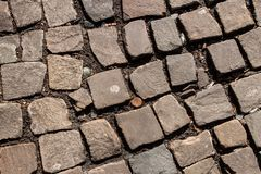 Vecchia pavimentazione del cobblestone immagini stock