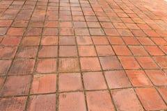Vecchia pavimentazione del mattone rosso Fotografia Stock Libera da Diritti