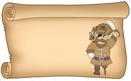 Vecchia pergamena con il pirata Immagini Stock