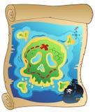 Vecchia pergamena con il programma del pirata Immagine Stock