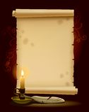 Vecchia pergamena con un indicatore luminoso Fotografia Stock Libera da Diritti