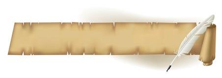 Vecchia pergamena con una piuma Fotografie Stock Libere da Diritti