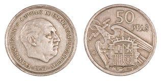 Vecchia peseta, moneta della Spagna Immagine Stock