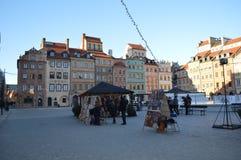 Vecchia piazza nell'inverno, Varsavia Immagine Stock