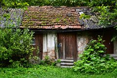 Vecchia piccola tettoia misera rustica in erba e legno Immagini Stock Libere da Diritti