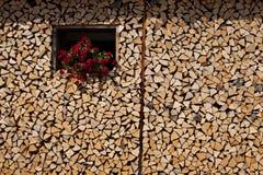 Vecchia pila della legna da ardere del villaggio immagine stock libera da diritti