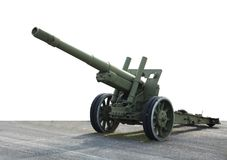 Vecchia pistola verde del cannone del campo dell'artiglieria Immagini Stock