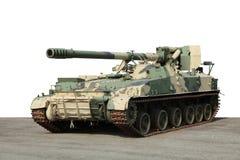 Vecchia pistola verde del cannone del campo dell'artiglieria Immagini Stock Libere da Diritti