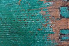 Vecchia pittura del turchese e una miscela di due bordi di legno, fine-ap immagine stock libera da diritti