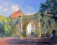 Vecchia pittura di paesaggio della città Fotografia Stock