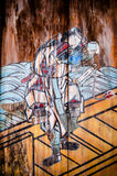 Vecchia pittura giapponese del samurai al santuario di Oyamazumi, Omishima, Ehi fotografia stock