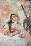 Vecchia pittura murala nelle rovine della chiesa Fotografia Stock Libera da Diritti