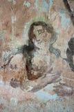 Vecchia pittura murala nelle rovine della chiesa Fotografie Stock