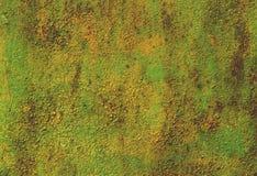 Vecchia pittura murale verde e gialla Fotografia Stock