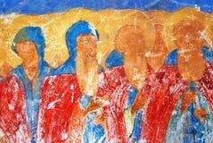 Vecchia pittura religiosa Chiesa del Saint Nicolas in Yaroslavl, Ru Fotografia Stock Libera da Diritti