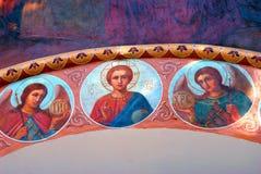 Vecchia pittura religiosa Trinità Sergius Lavra, Russia Mondo Herit dell'Unesco Fotografie Stock Libere da Diritti