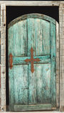 Vecchia porta blu-verde Fotografie Stock Libere da Diritti