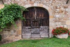 Vecchia porta di Brown Fotografie Stock