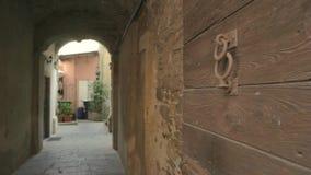 Vecchia porta di legno stock footage