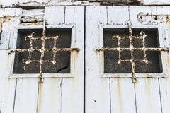 Vecchia porta di legno bianca Fotografia Stock Libera da Diritti