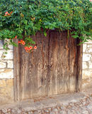 Vecchia porta di legno con i fiori sulla cima Fotografie Stock Libere da Diritti