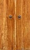 Vecchia porta di legno di Brown con la maniglia di Lion Head di due annate Fotografia Stock Libera da Diritti