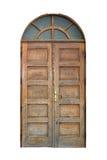 Vecchia porta di legno isolata fotografia stock