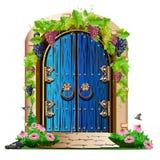 Vecchia porta di legno nel giardino Fotografia Stock