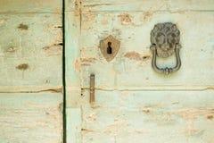 Vecchia porta di legno verde, con il battitore della testa del leone Fotografia Stock