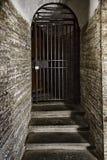 Vecchia porta fatta della grata d'acciaio nella parete di pietra Fotografie Stock Libere da Diritti