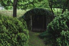 Vecchia porta nella terra in legno Immagine Stock