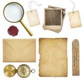 Vecchia posta, carta, prezzi da pagare, frami della polaroid, cera Fotografia Stock