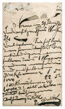 Vecchia posta della posta con testo scritto a mano Struttura (di carta) increspata Fotografia Stock Libera da Diritti