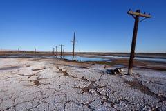 Vecchia potenza pali, mare di Salton fotografie stock
