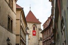 Vecchia Praga - vista della via Immagine Stock