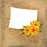 Vecchia priorità bassa del grunge con la nota ed il fiore Fotografia Stock Libera da Diritti