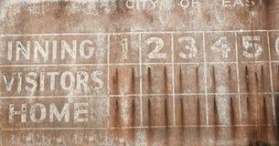 Vecchia priorità bassa del tabellone segnapunti di baseball fotografia stock libera da diritti