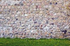 Vecchia priorità bassa della parete di pietra del castello Fotografie Stock Libere da Diritti