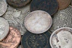Vecchia priorità bassa delle monete Fotografia Stock Libera da Diritti