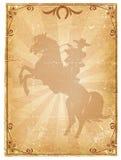 Vecchia priorità bassa di carta del cowboy. Immagini Stock